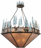 Meyda Tiffany 106009 Wildlife At Pine Lake Rustic 9 Lamp Antique Copper Pendant Light With Silver Mica