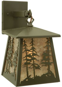 Meyda Tiffany 106038 Stillwater Tall Pine Trees Timeless Bronze Finish 12  Tall Exterior Wall Lamp