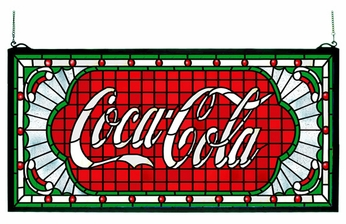 Meyda Tiffany 106231 Coca Cola Victorian Web Stained Glass Panel - Wispy Red Background