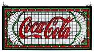 Meyda Tiffany 106233 Coca Cola Victorian Web Stained Glass Window Art - Clear Seedy Background