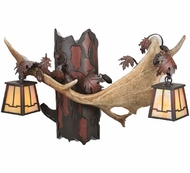Meyda Tiffany 106612 Antlers 2 Lamp 23 Inch Wide Rustic Wall Lighting Fixture