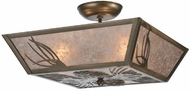 Meyda Tiffany 106774 Mountain Pine Antique Copper Finish 21 Inch Wide Overhead Lighting Fixture