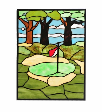 Meyda Tiffany 106969 Golf Stained Glass Window Home Décor - 13 Inches Tall