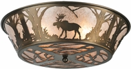 Meyda Tiffany 108638 Northwoods Moose at Dawn Country Antique Copper Flush Mount Lighting