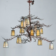 Meyda Tiffany 108758 Pine Branch Valley 52 Inch Diameter Rustic 12 Lamp Chandelier Light