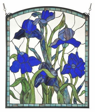 Meyda Tiffany 109050 Iris Arched Stained Glass Window - 28 Inches Tall