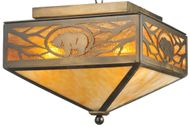 Meyda Tiffany 109214 Lone Grizzly Bear Country Antique Copper Flush Ceiling Light Fixture