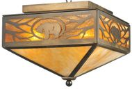 Meyda Tiffany 109215 Lone Grizzly Bear Rustic Antique Copper Ceiling Light Fixture