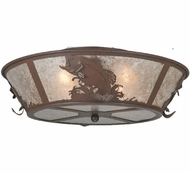 Meyda Tiffany 109226 Leaping Bass Rustic Semi Flush Silver Mica Ceiling Lighting