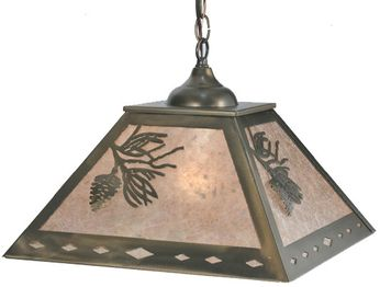Meyda Tiffany 109380 Square Balsam Pine 22 Inch Wide Antique Copper Hanging Light