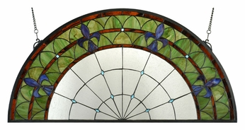 Meyda Tiffany 109545 Fleur De Lis Stained Gl Half Circle Wall Décor 18