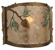 Meyda Tiffany 109902 Balsam Pine Rustic Style Silver Mica Pocket Wall Sconce - 9 Inches Tall