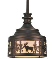 Meyda Tiffany 110017 Moose At Dusk Mahogany Bronze 8 Inch Diameter Mini Pendant Lamp