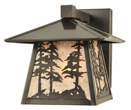 Meyda Tiffany 111694 Stillwater Tall Pine Trees Solid Mount Rustic Silver Mica Wall Sconce Lighting