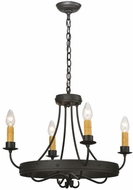 Meyda Tiffany 112632 Franciscan 4 Candle Wrought Iron 20 Inch Diameter Hanging Chandelier