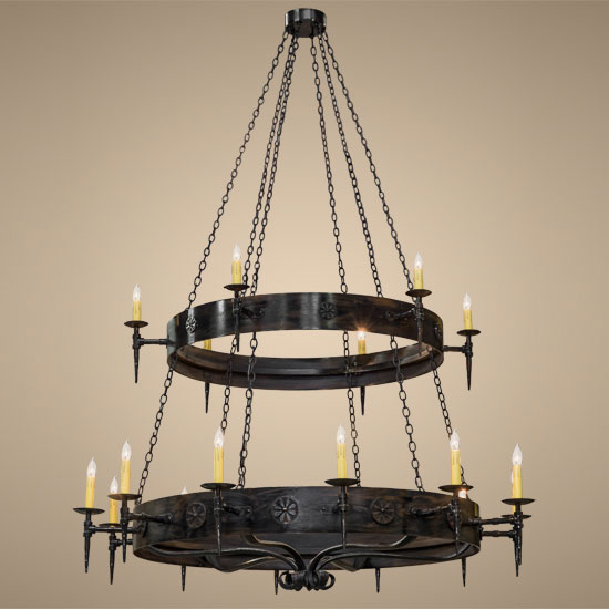 Meyda Tiffany 112829 Warwick 18 Candle Costello Black 2 Tier Large Chandelier Light Mey 112829