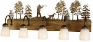 Meyda Tiffany 112920 Quail Hunter W/Dog 5 Lamp Antique Copper Bathroom Vanity Light