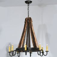 Meyda Tiffany 113361 Barrel Stave 8 Candle Costello Black Transitional Hanging Chandelier