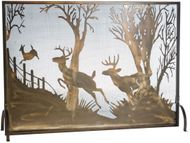 Meyda Tiffany 113656 Deer on the Loose Rustic Antique Copper Fireplace Screen