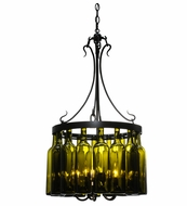 Meyda Tiffany 114514 Tuscan Vineyard Villa Antique Green 16 Wine Bottle Chandelier