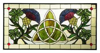 Meyda Tiffany 114591 Trinity Knot 28 Inch Wide Stained Glass Home Décor Window - 14 Inches Tall