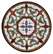 Meyda Tiffany 115075 Fleuring Medallion Round Stained Glass Window - 25 Inches Wide