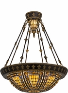 Meyda Tiffany 115300 Fleur-de-lis Tiffany Beige Green / Blue Amber Hanging Pendant Lighting