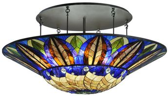 Meyda Tiffany 115511 Tampa Bay 12 Lamp Oil Rubbed Bronze Semi Flush Tiffany Ceiling Lighting