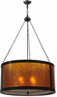 Meyda Tiffany 115663 Simple Mission Timeless Bronze 32 Inch Diameter Drop Lighting With Amber Mica