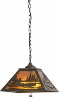 Meyda Tiffany 116147 Canoe At Lake Rustic Antique Copper / Amber Mica Hanging Pendant Light