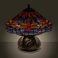 Meyda Tiffany 118749 Tiffany Hanginghead Dragonfly Tiffany Mahogany Bronze Table Top Lamp