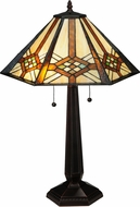 Meyda Tiffany 119659 Crosshairs Mission Tiffany Mahogany Bronze Lighting Table Lamp