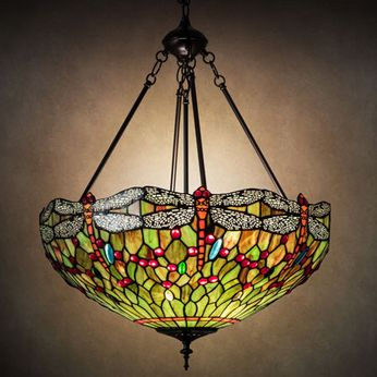 Meyda Tiffany 123701 Tiffany Hanginghead Dragonfly Tiffany Mahogany Bronze Pendant Light Fixture