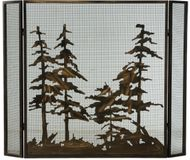Meyda Tiffany 124964 Tall Pines Rustic Antique Copper Fireplace Screen