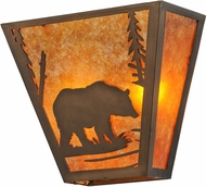 Meyda Tiffany 129337 Bear Creek Country Antique Copper / Amber Mica Wall Light Sconce