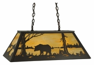Meyda Tiffany 130626 Bronze 33 Inch Wide Rustic Bear At Lake Scenery Island Lighting