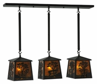 Meyda Tiffany 130904 Serengeti 3 Lamp 37 Inch Wide Rustic Island Light Fixture - Amber Mica