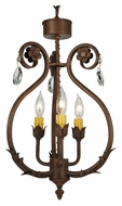 Meyda Tiffany 132457 Antonia Traditional 3 Candle Semi Flush Mount Ceiling Light Fixture