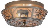 Meyda Tiffany 13390 Bear on the Loose Rustic Steel Finish Flush Mount Light Fixture