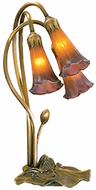 Meyda Tiffany 13674 Amber/Purple Pond Lily Traditional Antique Accent Table Lamp Lighting