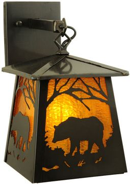 Meyda Tiffany 138044 Stillwater Grizzly Bear 7.25  Wide Exterior Lamp Sconce
