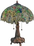 Meyda Tiffany 139607 Tiffany Laburnum Tiffany Mahogany Bronze Side Table Lamp