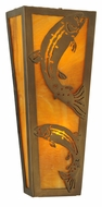 Meyda Tiffany 140840 Leaping Trout 12 Inch Tall Antique Copper Rustic Sconce Lighting