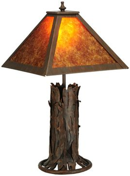 Meyda Tiffany 141532 Northwoods Simple Mission Classic Rust Table Lighting With Amber Mica