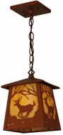 Meyda Tiffany 142861 Deer at Dawn 12 Inch Tall Rustic Pendant Hanging Lamp