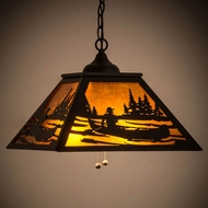 Meyda Tiffany 143643 Canoe Tall Pines Textured Black / Amber Mica Ceiling Light Pendant