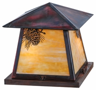 Meyda Tiffany 144035 Stillwater Winter Pine Beige Vintage Copper Finish 14.5  Tall Outdoor Pier Mount