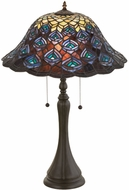 Meyda Tiffany 14574 Tiffany Peacock Feather Tiffany Table Lamp Lighting