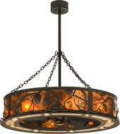 Meyda Tiffany 146166 Whispering Pines Country Oil Rubbed Bronze / Amber Mica Home Ceiling Fan