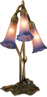 Meyda Tiffany 14670 Pink/Blue Pond Lily Traditional Accent Table Top Lamp